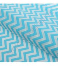 Бумага упаковочная тишью Зигзаги, размер 50х66 см, цвет голубой