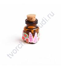 Стеклянная бутылочка с пробкой треугольная, 22х18х8 мм, цвет розовый