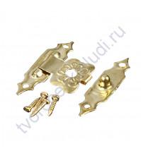 Замок для шкатулки Готик с 4-мя гвоздиками, 19х30 мм, цвет золото