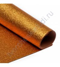 Фоамиран с глиттером, 2 мм, формат А4, цвет охра блеск