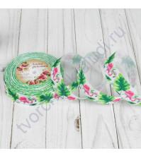Лента репсовая Фламинго, ширина 25 мм, цвет белый, 1 метр