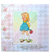 Тканевая карточка Детки-6-4, размер 7.5х9 см