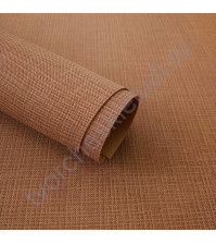 Кожзам переплетный с тиснением под холст на полиуретановой основе плотность 230 гр/м2, 50х70 см, цвет F338-св.коричневый