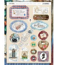 Набор вырубных элементов (чипборд) Sherlock Holmes, 19 элементов, размер листа 21х29.7 см