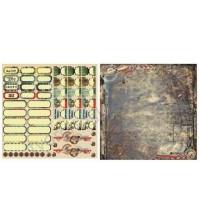 Лист двусторонней бумаги для скрапбукинга 30х30см, 170 гр/м, коллекция Rusty, лист 5006