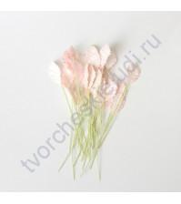 Листья розы маленькие 1.3х2.2 см, 10 шт, цвет розово-персиковый светлый