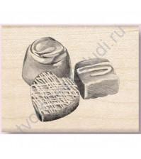 Штамп из резины на деревянной оснастке Chocolate Sweets, 5.7х4.3 см