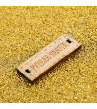 Кожзам декоративный с глиттером Искры золота, плотность 350 гр/м2, отрез 30х30 см