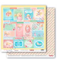 Бумага для скрапбукинга двусторонняя коллекция Маленькая принцесса, 30.5х30.5 см, 190 гр/м, лист Карточки-2
