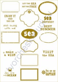 Пленка с золотым рисунком для декора Frames, коллекция Sea adventure, толщина 0.25 мм, формат А4