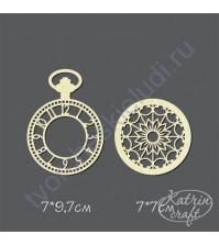 Чипборд Часы карманные с крышкой, Дамские, 2 элемента