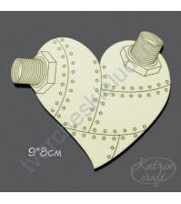 Чипборд Сердце стимпанк, 9х8 см
