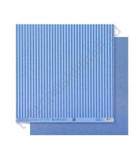 Бумага для скрапбукинга двусторонняя Базовая Полоска 30.5х30.5 см, 180 гр/м2, лист Синий