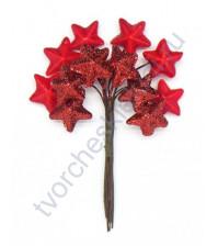 Букетик декоративный Звезды, 12 веточек, высота 11 см, цвет красный