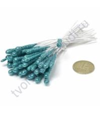 Тычинки с блестками крупные, 10 шт, высота 9 см, цвет бирюзовый