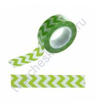 Бумажный скотч с принтом Зигзаг зеленый, 1.5см х 10 м
