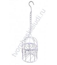 Клетка металлическая декоративная круглая 13 см, цвет белый