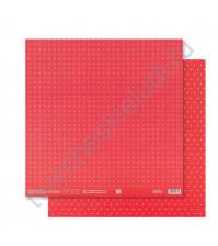 Бумага для скрапбукинга двусторонняя Базовая 30.5х30.5 см, 180 гр/м2, лист Красный