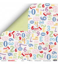 Бумага для скрапбукинга двусторонняя 30.5х30.5 см, 190 гр/м, коллекция Birthday Party, лист Цифры