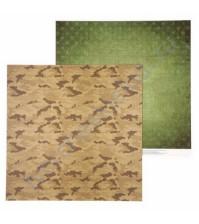 Бумага для скрапбукинга двусторонняя Military, 30.5х30.5 см, 180 гр/м, лист Армейская палатка