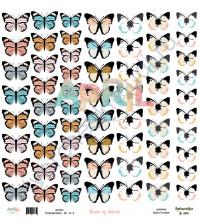 Бумага для скрапбукинга односторонняя, коллекция Путешествие в лето, 30.5х30.5 см, 190 гр\м2, лист Облако из бабочек
