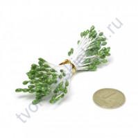 Тычинки двусторонние с глиттером, 80 шт, цвет зеленый