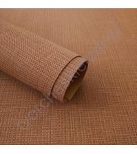 Кожзам переплетный с тиснением под холст на полиуретановой основе плотность 230 гр/м2, 33х70 см, цвет F338-св.коричневый