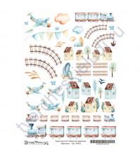 Скрап-карта А4 Картинки, коллекция Весёлый паровозик, без клеевого слоя