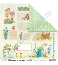 Бумага для скрапбукинга двусторонняя Краски лета, 30.5х30.5 см, 190 гр/м, лист 1