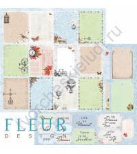 Бумага для скрапбукинга двусторонняя, коллекция Краски осени, 30х30см плотность 190г/м, лист Моменты