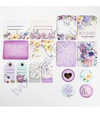 Набор карточек и высечек для журналинга с фольгированием Цветочная галерея, плотность 190 гр/м, 16 элементов