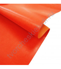Кожзам переплетный глянцевый под кожу на полиуретановой основе плотность 255 гр/м2, 35х50 см, цвет A837-апельсин