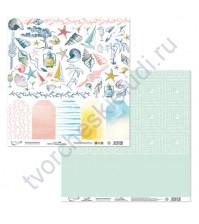 Бумага для скрапбукинга двусторонняя Лазурные берега, 190 гр/м2, 30.5х30.5 см, лист 7