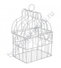 Клетка металлическая декоративная прямоугольная 7х9 см, цвет белый