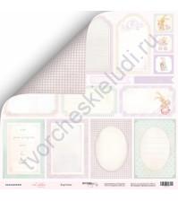 Бумага для скрапбукинга двусторонняя 30.5х30.5 см, 190 гр/м, коллекция Little Bunny, лист Карточки-1