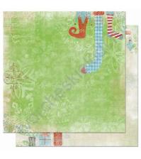 Бумага для скрапбукинга двусторонняя коллекция Blitzen, 30.5х30.5 см, 170 гр/м, лист Stockings