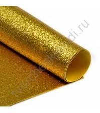 Фоамиран с глиттером, 2 мм, формат А4, цвет золотой блеск