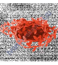 Лента красная с листочками, ширина ок. 23 мм