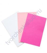 Набор заготовок для открыток текстурированных формат 10х15 см, 3 штуки, 230 гр/м2, цвет Молочный, Розовый, Фуксия