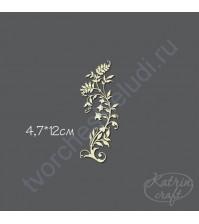 Чипборд Завиток травяной с ягодами маленький, 4,7х12см