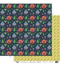 Бумага для скрапбукинга двусторонняя 30.5х30.5 см, 190 гр/м2, коллекция Жили-были, лист Избушка бабы-яги