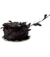 Лента черная с листочками, ширина ок. 23 мм