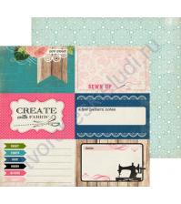 Бумага для скрапбукинга двусторонняя коллекция Sew Lovely Collection, 30.5х30.5 см, 180 гр/м, лист Sew Sweet
