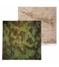 Бумага для скрапбукинга двусторонняя Military, 30.5х30.5 см, 180 гр/м, лист Карта действий