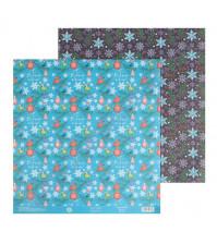 Бумага для скрапбукинга двусторонняя 30.5х30.5 см, 180 гр/м2, лист Новогодний узор