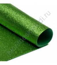 Фоамиран с глиттером, 2 мм, формат А4, цвет ярко-зеленый блеск